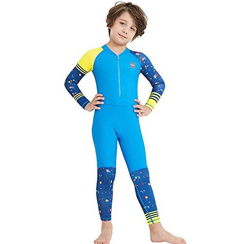 HYZXK Traje de Neopreno Completo para niños Traje de Neopreno de Manga Larga para niños Traje de Buceo de Secado rápido Traje de Neopreno para Surf con protección Solar para niños niñas,