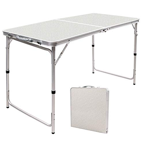 RedSwing 4 Feet Folding Camping Table Adjustable Height, Lightweight Portable Aluminum Table for Picnic Beach Outdoor Indoor, 47.2''x23.6''x22''/27''