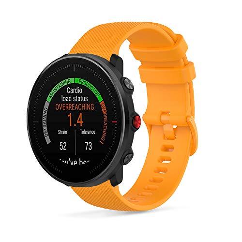 Ficocean Correa de Reloj Compatible con Polar Vantage M /Polar Grit X, Universal 22mm Correa de Silicona Pulsera de Repuesto Banda de Deportes Fitness (ámbar)