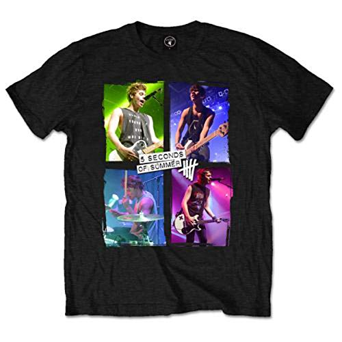 5 Seconds of Summer Live in Colours T-Shirt, Noir, X-Large Homme