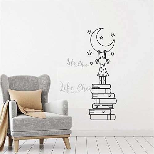 Niña con libros calcomanía de pared luna y estrellas vinilo pegatina niñas lectura Conner decoración libro estudio estilo mural de la pared