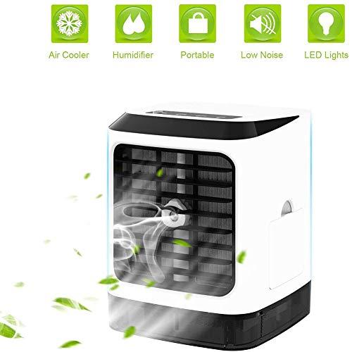 YaoLAN Mobiele airconditioning, mini-draagbare 3-in-1 aircooler luchtbevochtiger en luchtreiniger met 7 kleuren LED, 3 snelheden voor woonkamer kantoor