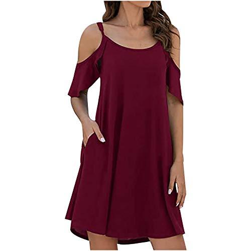 liulangzhe No1 Damen Sommer Kurzarm Einfarbige Tasche Tasche Hüftrundrund Kleid Rock