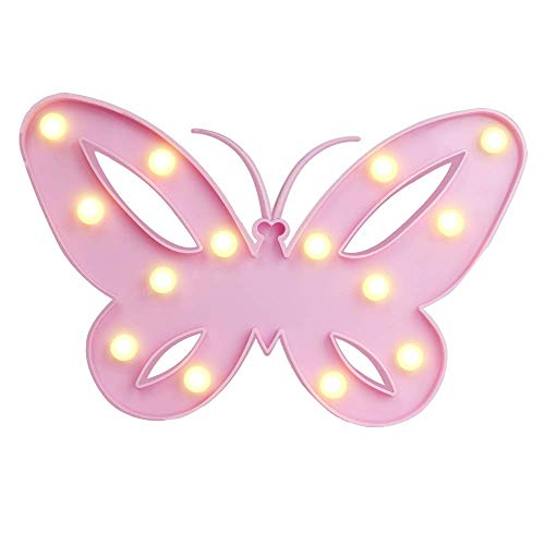 Papillon rose vif en plastique avec 14 LED blanc/chaud, env. 26 x 17 cm, pour 2 piles mignon (AA)