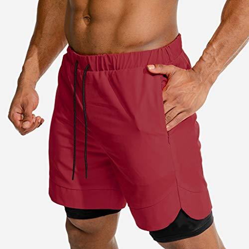 Pantalón Deportivo para Hombre Running, Shorts de Entrenamiento 2 en 1 con Compresión Interna y Bolsillo para Hombres Deportes Shorts Pants JiaMeng_ZI