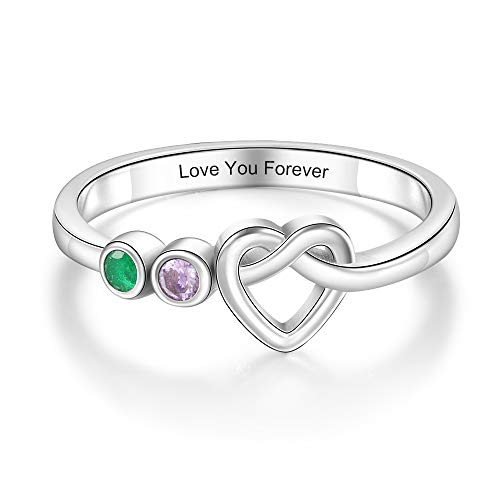 DaMei Personalised Rings with 2-4 Simulated Birthstones for Women Customised Engraved Family Name Rings for Mother Grandmother Bff Promise Rings for Her (2 Stones, L 1/2)