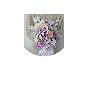 Pink Purple Water Drop Waterfall Elegant Wedding Bouquet Artificial Carla Lily Bride Bridal Bouquet Bride's Wedding Bouquet,Style 1