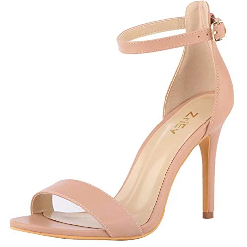 ZriEy Women's Heeled Sandals 4 Inches Nude Open Toe Stiletto High Heels Ankle Strap Fashion Bridal Party Wedding Pump Shoes Size 7.5