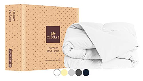 Twin Duvet Cover Twin & Twin XL Size - Ultra White Color - 100% Organic Cotton - GOTS Certified - 300 TC Thread Count Soft Sateen - for Duvet Insert, Down / Alternative Comforter, Weighted Blanket