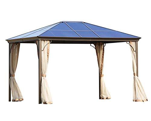 Patiomore Outdoor Garden Gazebo 12 x 10 FT Patios Gazebo Beige Canopy Permanent Aluminum Hardtop Mosquito Netting, Front Porch