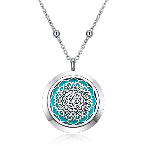 CF100 Diffuser Necklaces Aromatherapy Necklaces 316L Stainless Steel Essential Oils Diffuser Necklaces with Chain+Pads for Women Men Goys Girls (12-Petal Flower 30mm)