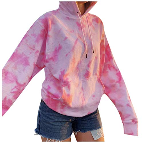 shendaf Tie Dye Sweatshirt Womens Fashion Hoodie Sweatshirts Long Sleeve Letter Print Pink