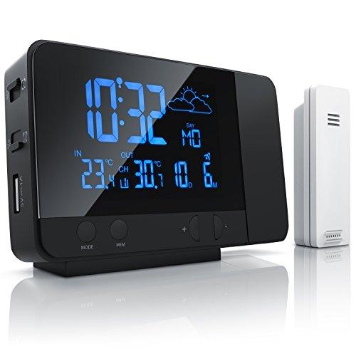 CSL - Funk Wetterstation mit Projektion inkl. Außensensor | sekundengenaue Uhrzeit durch DCF-Signal (Funk-Uhr) | USB-Ladefunktion | 8-farbige RGB Hintergrundbeleuchtung | schwarz