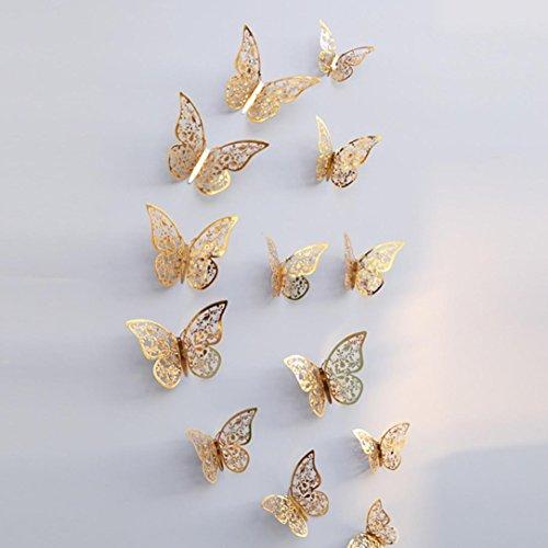 kingko 12 PCS 3D Butterfly Wall Decoration Sticker Rub, Gold und Silber Dicke Papierkarte Decor Wall Decoration 12 cm (4 stücke), 10 cm (4 stücke), 8 cm (4 stücke) (C)
