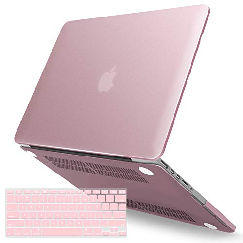 IBENZER MacBook Pro 15 Inch Case 2015 2014 2013 2012 A1398, Hard Shell Case with Keyboard Cover for Old Version Apple Mac Pro Retina 15, Rose Gold, R15MPK+1A