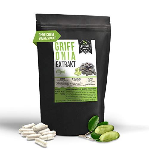 Griffonia Simplicifolia EXTRAKT | 98% 5-HTP | 240 KAPSELN | Schwarzbohne ohne chem. Zusatzstoffe und laborgeprüft | hochdosiert, vegan & in Deutschland hergestellt (Kapseln 240)