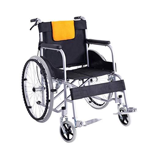 XUSHEN-HU Silla de ruedas, Silla de transporte portátil con mesa de comedor, plegable silla de ruedas portátil súper ligera, adecuada para personas con discapacidad ligera
