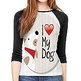 Long Sleeve Blouse Dog Lover Decor Collection I Love My Dog Text Typeset Typescript Medical Veterinary Abstract Illustration Women'S Basic Long Sleeve T-Shirt Medium