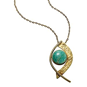 Women's Amazonite Cabochon Gemstone Pendant Necklace - Brass Setting