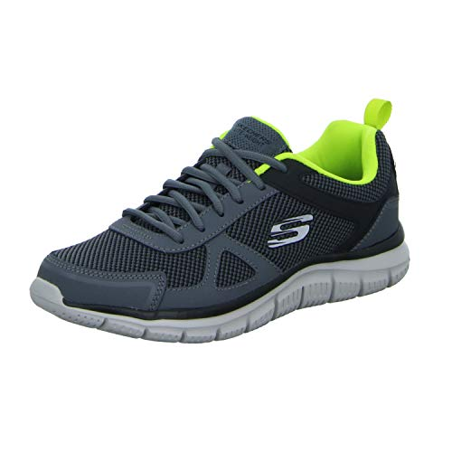 Skechers Men's TRACK BUCOLO Trainers, Charcoal/Lime, 9 UK 43 EU