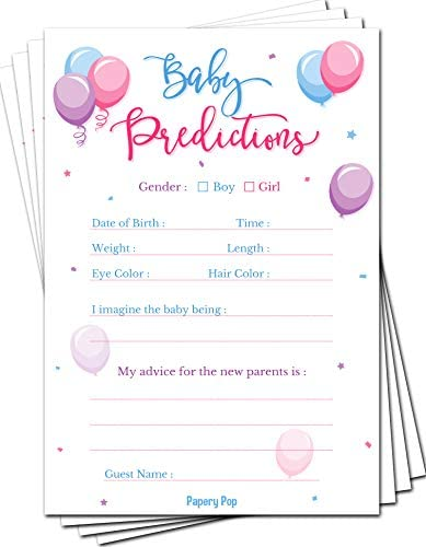 Gender Reveal Games Baby Predictions and Advice Cards Pack of 50 Baby Shower Games for Boys product image