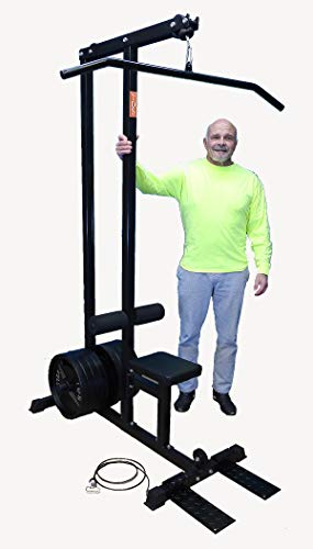 TDS 600lb Rated LAT/Row Machine for Standard Plates with Deluxe seat, Covered Foam Knee Holders