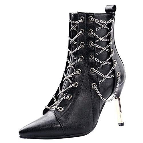 LWWHY Kurzschaft Stiefel Damen High Heels Ankle Boots Stiletto Stiefeletten mit Ketten Abend Stiefel Modern Schwarz 43 EU