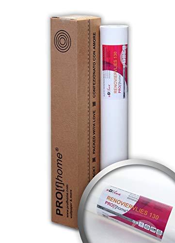 PRO[f]home® - Renoviervlies 130 g Malervlies Anstrich-Vlies glatte Vliestapete zum Überstreichen 18,75 qm x 25 Meter Rolle