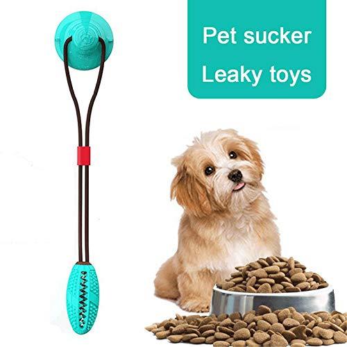 Hamkaw Multifunktions-Spielzeug für Hunde, selbstspielendes Zerrspielzeug mit Saugnapf, quietschender Gummiball, Zahnbürste, Kauspielzeug zum Zerren, Ziehen, Kauen und Auslaufen.