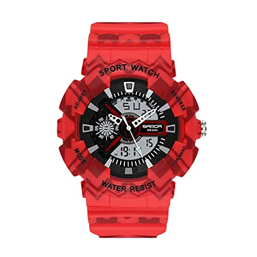 Reloj para Hombre Dial Grande Digital Doble Pantalla Moda TACTICA TACTICA A Prueba de Agua Relojes Deportivos con Banda de Resina para Hombres (Color : B)