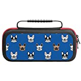 French Bulldogs Travel Carrying Case Tote Bag For Nintendo Switch Accessories Holds 20 Game Card Bag