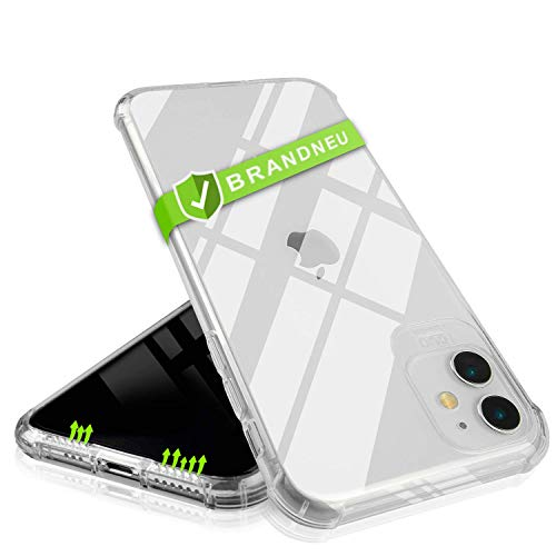 CT-HEXAGON® Hülle für iPhone 11 - transparente iPhone 11 Hülle Silikon - Schutzhülle mit extra verstärken und erhöhten Kanten