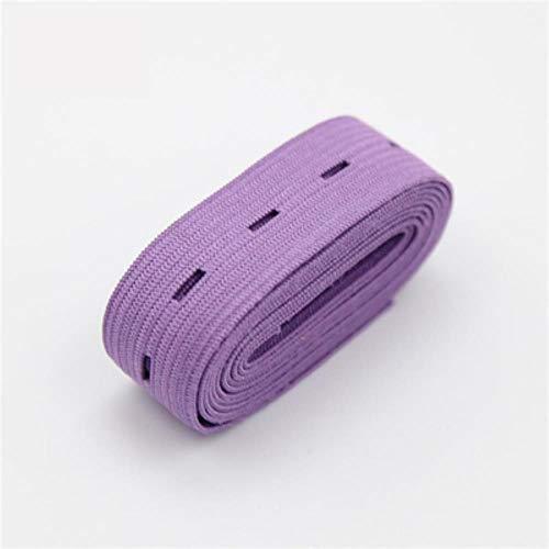 Piore 2cm kleurrijke verstelbare platte elastische band met knoopsgaten elastische band voor luier zwangere kledingstuk naaien accessoires 1m, licht paars 1 meter