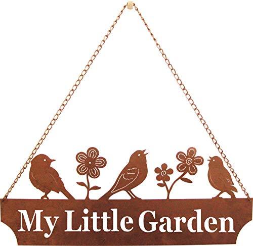 California Home and Garden CH302 My Little Garden Schild zum Aufhängen, Metall, mit singenden rostigen Vögeln und Blumen, rustikaler Look, 50,8 cm breit, bräunliches Rot