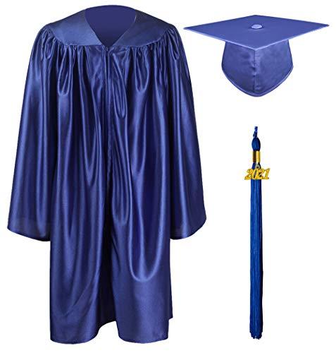 GraduationMall Ragazzo Ragazza Laurea Cappello e Abito per Bambini 2021 Prescolare Scuola Materna Costume Blu Reale 33(123-130cm)