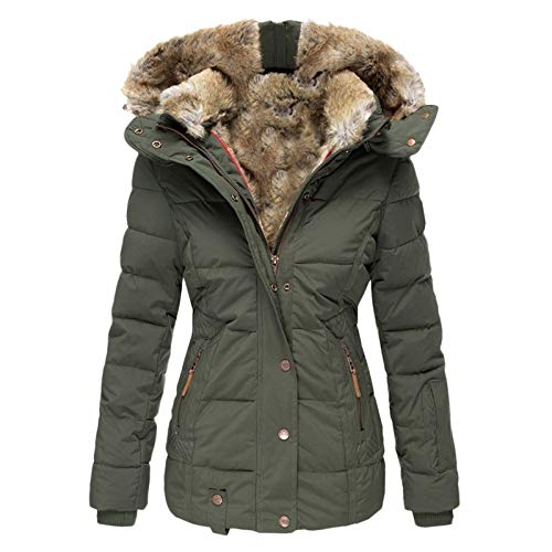 Lazzboy Mantel Frauen Winter Plus Size Einfarbig Daunenmantel Langarm Reißverschlusstasche Damen Jacke Winterjacke Parka Wintermantel Warm Gefüttert Teddyfell ( W-Armeegrün,4XL )