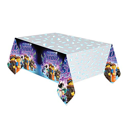 Amscan 9904645 - Tischdecke Lego Movie 2, 1 Stück, Größe 120 x 180 cm, Kunststoff, wasserabweisend, Grau mit mehrfarbigen Motiven, Never stop playing, Kinderparty, Geburtstag, Mottoparty