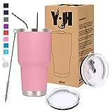 Y·JH 30oz (850ml) Bicchiere da Viaggio Tazza da caffè a Doppia Parete isolata sottovuoto Tazza da caffè in Acciaio Inossidabile con 2 coperchi antispruzzo, 2 cannucce, Senza BPA - Rosa