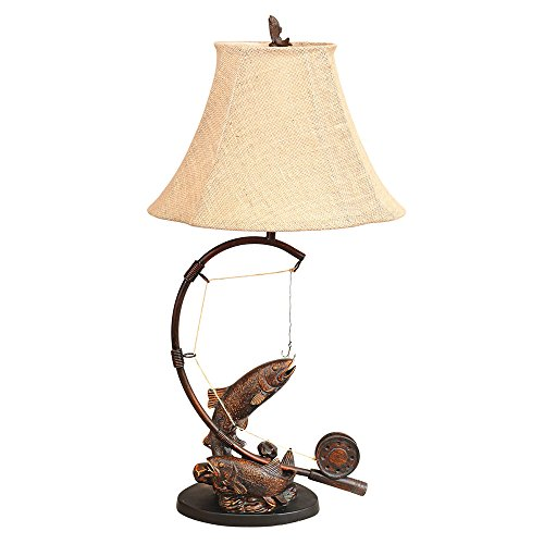 Black Forest Décor Fly RodTrout Table Lamp–Fishing Themed Table Lamp