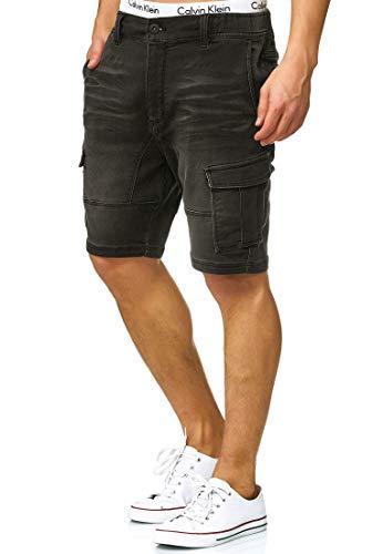 Indicode Herren Chandos Cargo Shorts mit 6 Taschen im Washed Denim-Look aus 84% Baumwolle   Kurze Hose Regular Fit Stretch Herrenshorts Short Men Pants Cargohose kurz für Männer Black XXL