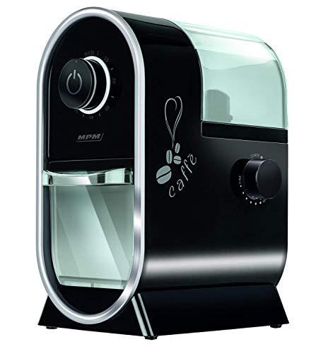 MPM MMK-05 Molinillo Café profesional con sistema muelas, 17 ajustes de molienda, más fino a grueso, temporizador, depósito 60 g, 100W, Color Negro