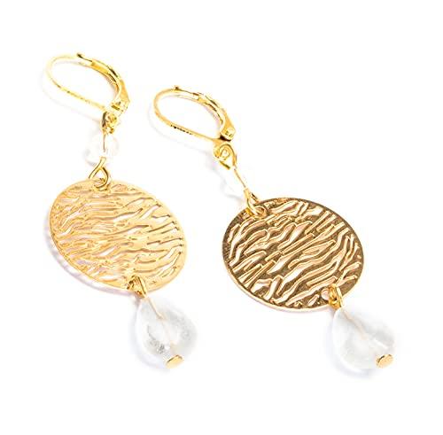 Kimaya Bijoux - Pendientes artesanales de cristal de roca con gotas, dormilas chapados en oro