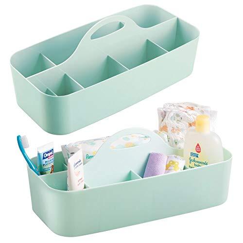 mDesign Juego de 2 cestas organizadoras con 11 compartimentos para artículos de bebé – Cesta con asa de plástico – Prácticas cestas multiusos para cremas, juguetes, alimentos, etc. – verde menta