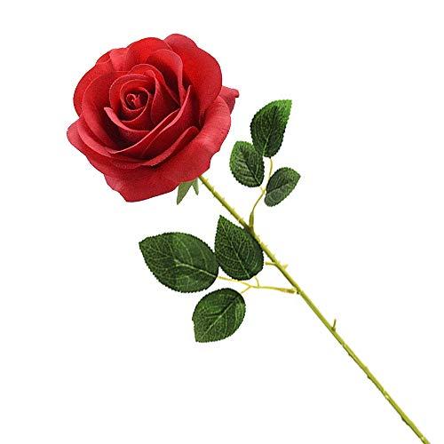 Künstliche Seidenrose, rote künstliche Rose, ewige Blumen, einzelner Stiel als Geschenk verpackt rote Rosen für Hochzeitssträuße Jubiläen Partys Hotels Büro-Dekoration