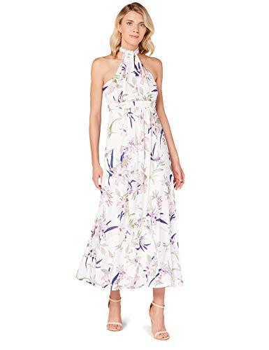 Amazon-Marke: TRUTH & FABLE Damen Maxi A-Linien-Kleid, Mehrfarbiger Lilienaufdruck, 32, Label:XXS
