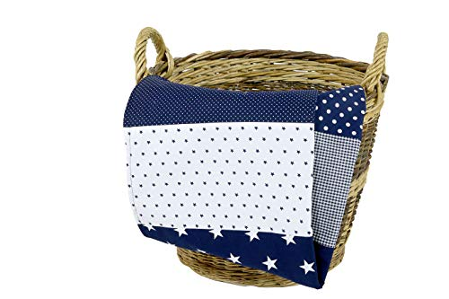 ULLENBOOM ® Babydecke 70x100 cm Blaue Sterne (Made in EU) - Baby Kuscheldecke aus ÖkoTex Baumwolle & Fleece, ideal als Kinderwagendecke oder Spieldecke geeignet, Design: Sterne, Punkte, Patchwork