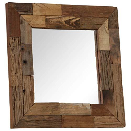Festnight Espejo de Madera Vintage para Pasillo y Baño 50x50 cm