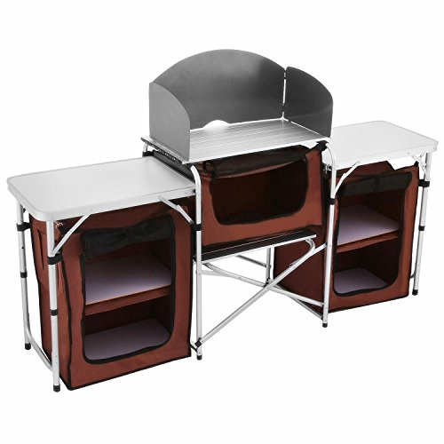 BuoQua Cucina Da Campeggio Pieghevole 175x48x111cm Cucina Da Campeggio IN Alluminio Leggero 3 Scomparti Con pretezione Antivento