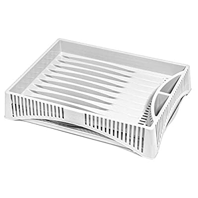 BranQ - Home essential Draining Basket, Plastic PP, White, 40x30x8 cm (LxBxH)
