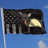 jhin Dekorative Fahnen Outdoor Flags Worn-Out America Flag Chihuahua Taco Dog 3X5 Ft Flag for Outdoor Indoor Home Decor Sports Fan Football Basketball Baseball Hockey Decorative Banner